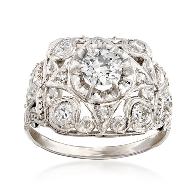 C. 1960 Vintage .90 ct. t.w. Diamond Milgrain Ring in Platinum, , default