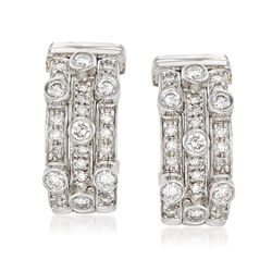 C. 1990 Vintage 1.50 ct. t.w. Diamond Three-Row Hoop Earrings in 18kt White Gold, , default