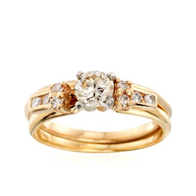 C. 1990 Vintage .65 ct. t.w. Diamond Bridal Set: Engagement and Wedding Rings in 14kt and 18kt Gold