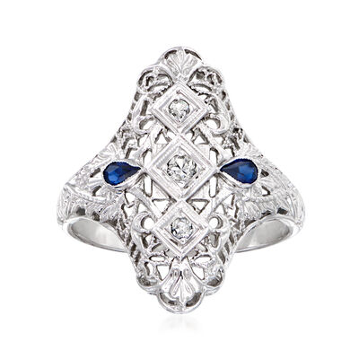 C. 1950 Vintage .10 ct. t.w. Synthetic Sapphire Ring with Diamond Accents in 18kt White Gold