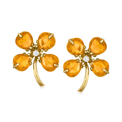 C. 1940 Vintage 12.00 ct. t.w. Citrine and .16 ct. t.w. Diamond Flower Earrings in 14kt Yellow Gold
