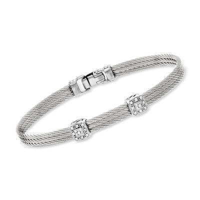 "ALOR ""Classique"" Gray Cable Bracelet with Diamond Accents and 18kt White Gold"