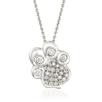 Italian Roberto Coin .25 ct. t.w. Diamond Paw Print Pendant Necklace in 18kt White Gold, , default