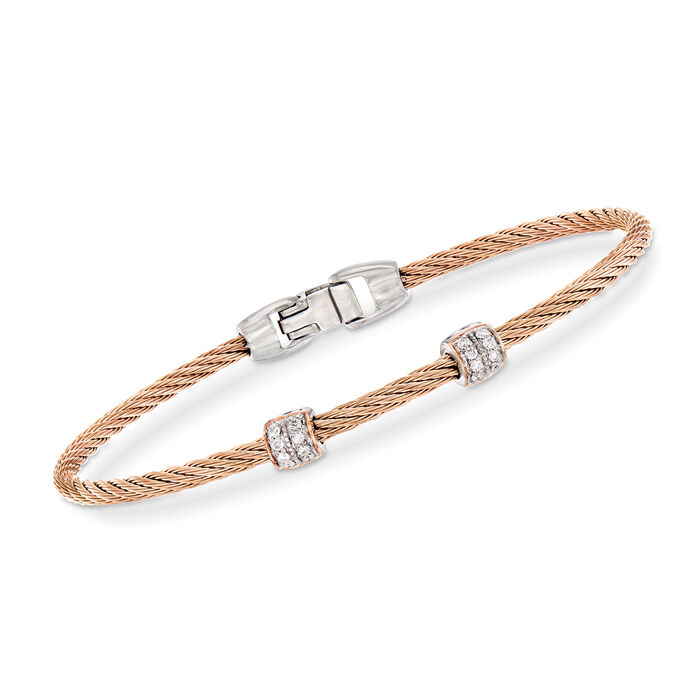 "ALOR ""Classique"" .13 ct. t.w. Diamond Blush Stainless Steel Cable Bracelet with 18kt Rose Gold"
