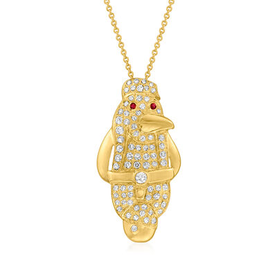 C. 1990 Vintage .60 ct. t.w. Diamond Penguin Pendant Necklace with Ruby Accents in 18kt Yellow Gold