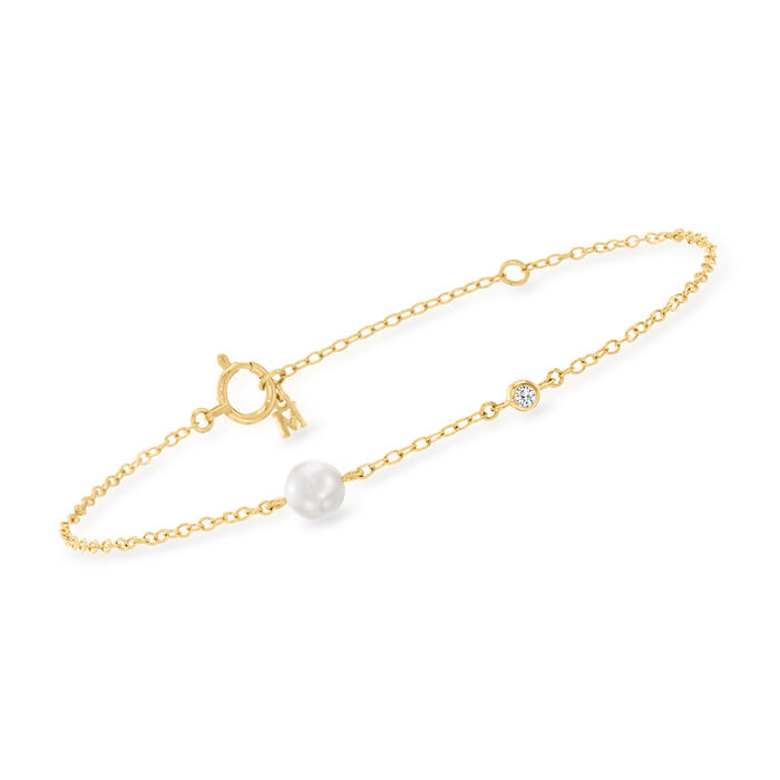 Mikimoto 5mm A+ Akoya Pearl Station Bracelet with Diamond Accent in 18kt Yellow Gold
