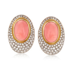 C. 1980 Vintage Orange Coral and 3.75 ct. t.w. Diamond Oval Earrings in 18kt Gold, , default