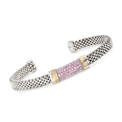 "Phillip Gavriel ""Popcorn"" .84 ct. t.w. Pink Sapphire Cuff Bracelet in Sterling Silver and 18kt Gold"