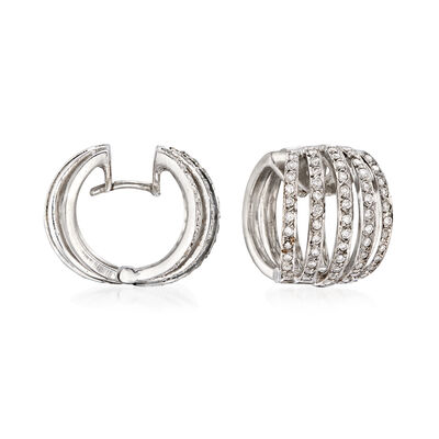 C. 1980 Vintage 1.00 ct. t.w. Diamond Huggie Hoop Earrings in 18kt White Gold, , default