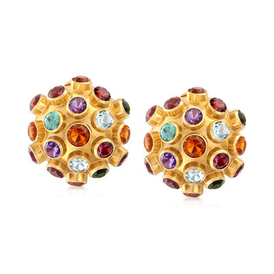 C. 1970 Vintage 13.35 ct. t.w. Multi-Gem Ball Earrings in 18kt Yellow Gold, , default