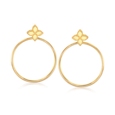 "Roberto Coin ""Princess"" Flower Circle Drop Earrings in 18kt Yellow Gold"