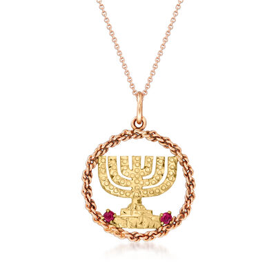 C. 1980 Vintage 14kt Two-Tone Gold Menorah Pendant Necklace with Ruby Accents