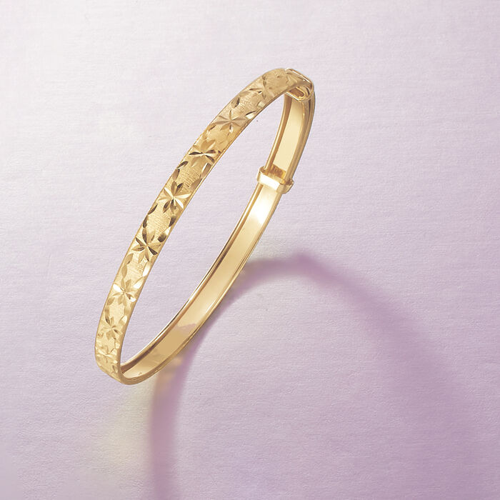 Child's 14kt Yellow Gold Diamond-Cut Bangle Bracelet
