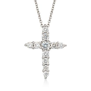 "Roberto Coin .39 Carat Total Weight Diamond Cross Necklace in 18-Karat White Gold. 16"", , default"