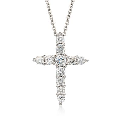 Roberto Coin .39 ct. t.w. Diamond Cross Pendant Necklace in 18kt White Gold, , default
