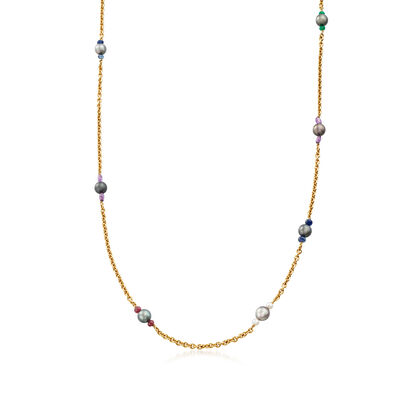 C. 1990 Vintage Assael Black Cultured Tahitian Pearl, Cultured Pearl and Multi-Gemstone Bead Station Necklace in 18kt Yellow Gold