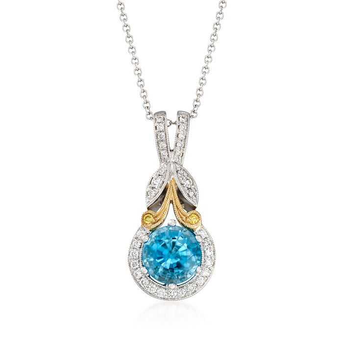 "Simon G. 1.90 Carat Blue Zircon and .16 ct. t.w. Diamond Pendant Necklace in 18kt Two-Tone Gold. 17"", , default"