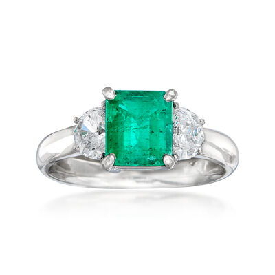 C. 2000 Vintage 1.38 Carat Emerald and .58 ct. t.w. Diamond Ring in Platinum, , default