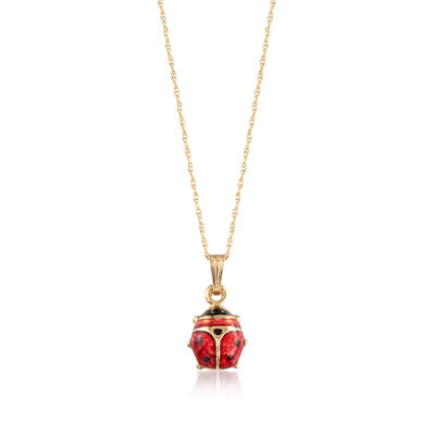 Child's Red Enamel Ladybug Pendant Necklace in 14kt Yellow Gold, , default