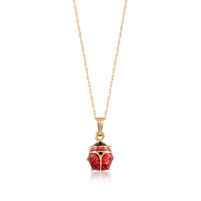 Child's Red and Black Enamel Ladybug Pendant Necklace in 14-Karat Yellow Gold. 15""