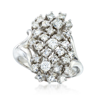 C. 1970 Vintage 1.00 ct. t.w. Diamond Cluster Ring in 14kt White Gold, , default