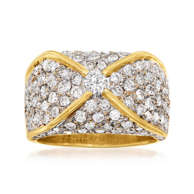 C. 1980 Vintage 2.50 ct. t.w. Diamond Ring in 18kt Yellow Gold
