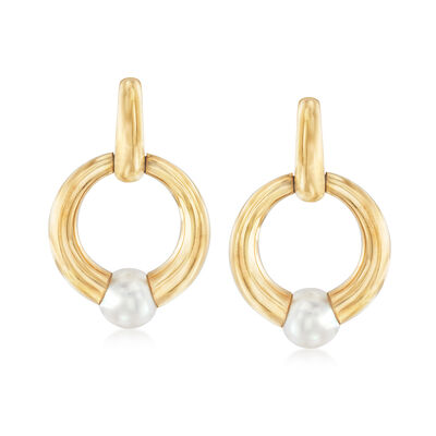 C. 1994 Vintage Cartier 8.3mm Cultured Pearl Doorknocker Earrings in 18kt Yellow Gold