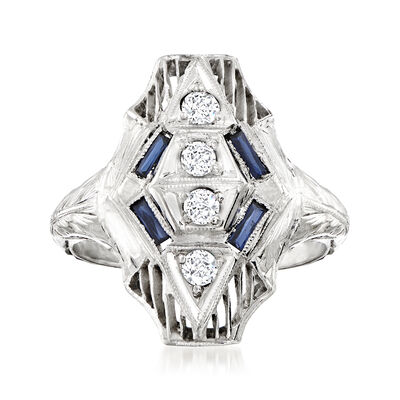 C. 1930 Vintage .20 ct. t.w. Diamond and .16 ct. t.w. Synthetic Sapphire Ring in 18kt White Gold