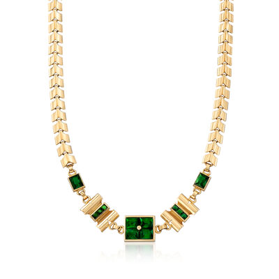 C. 1940 Vintage 11.75 ct. t.w. Green Tourmaline Link Necklace in 14kt Yellow Gold