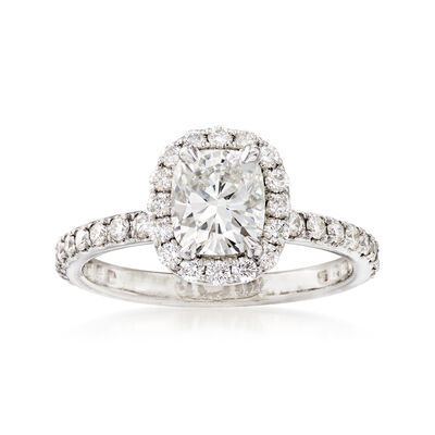 C. 2005 Vintage 1.58 ct. t.w. Diamond Halo Engagement Ring in Platinum