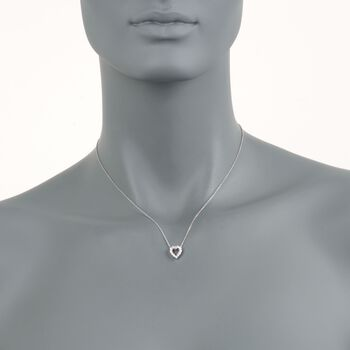 "Roberto Coin Tiny Treasures .26 Carat Total Weight Diamond Heart Necklace in 18-Karat White Gold. 18"", , default"