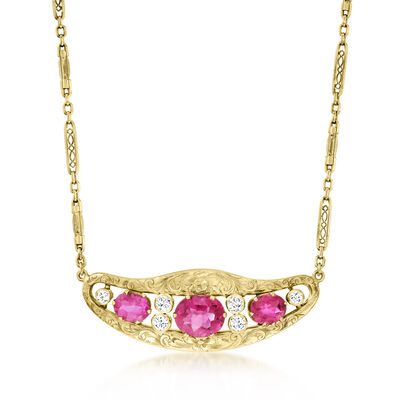 C. 1980 Vintage 5.09 ct. t.w. Pink Tourmaline and .65 ct. t.w. Diamond Necklace in 14kt Yellow Gold