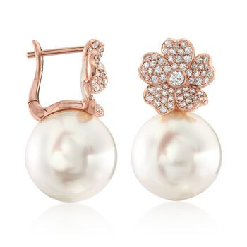 Mikimoto Cherry Blossom 11mm A+ South Sea Pearl and .45 Carat Total Weight Diamond Drops in 18-Karat Rose Gold