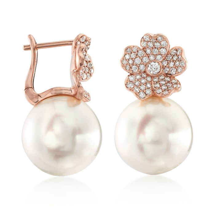 """Mikimoto """"Cherry Blossom"""" 11mm A+ South Sea Pearl and .45 ct. t.w. Diamond Floral Earrings in 18kt Rose Gold"""