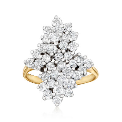 C. 1980 Vintage 2.25 ct. t.w. Diamond Cluster Bypass Ring in 14kt Two-Tone Gold, , default