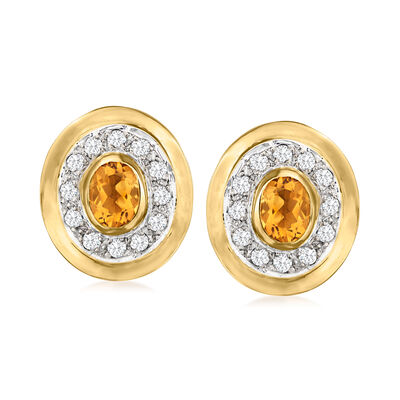 C. 1980 Vintage 1.60 ct. t.w. Citrine Oval Earrings with .75 ct. t.w. Diamonds in 14kt Yellow Gold with 14kt White Gold