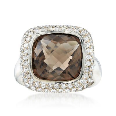 C. 1990 Vintage 6.00 Carat Smoky Quartz and .75 ct. t.w. Diamond Ring in 14kt White Gold, , default