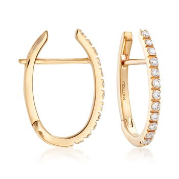 Mattioli Puzzle .34 Carat Total Weight Diamond Hoops in 18-Karat Yellow Gold with 3 Interchangeable Drops: Black, White and Green, , default