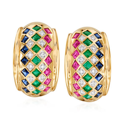 C. 1980 Vintage 3.15 ct. t.w. Multi-Gem Checkerboard Earrings with Diamond Accents in 14kt Yellow Gold, , default