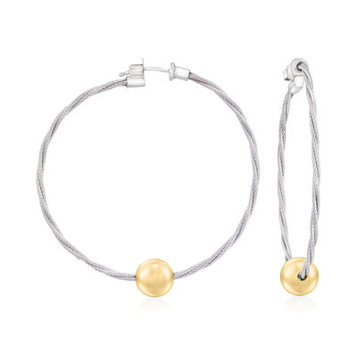 """ALOR """"Classique"""" 14kt Yellow Gold and Gray Stainless Steel Cable Hoop Earrings"""