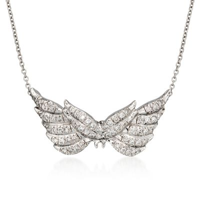 "Roberto Coin ""Tiny Treasures"" .24 ct. t.w. Angel Wing Diamond Necklace in 18kt White Gold"