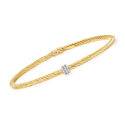 "Phillip Gavriel ""Italian Cable"" .10 ct. t.w. Diamond Cuff Bracelet in 14kt Yellow Gold, , default"