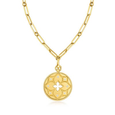 "Roberto Coin ""Venetian Princess"" .10 ct. t.w.  Diamond Pendant and Paper Clip Link Necklace in 18kt Yellow Gold"
