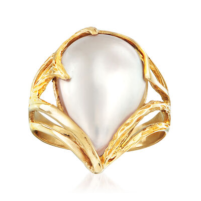 C. 1980 Vintage Mabe Pearl Ring in 14kt Yellow Gold, , default