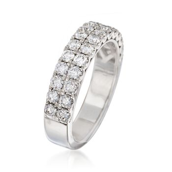 Henri Daussi 1.10 ct. t.w. Diamond Multi-Row Wedding Ring in 18kt White Gold, , default