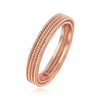 Roberto Coin Symphony Barocco 18-Karat Rose Gold Four-Row Band. Size 7, , default