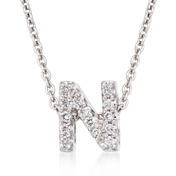 """Roberto Coin """"Love Letter"""" Diamond Accent Initial """"N"""" Necklace in 18kt White Gold"""