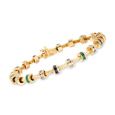 C. 2000 Vintage Charles Krypell 4.75 ct. t.w. Multi-Gem and 2.00 ct. t.w. Diamond Bracelet in 18kt Yellow Gold, , default