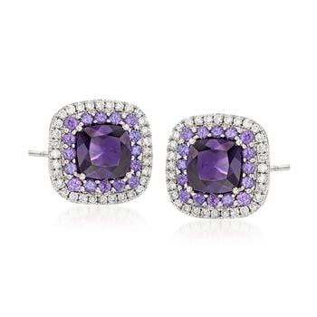 Gregg Ruth 2.19 Carat Total Weight Amethyst and .31 Carat Total Weight Diamond Frame Earrings in 18-Karat White Gold , , default