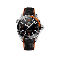 Omega Seamaster Planet Ocean Men's 43.5mm Stainless Steel Watch With Black and Orange Rubber Strap, , default